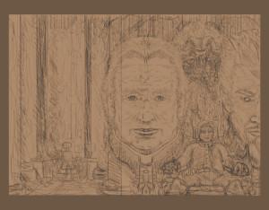 A rough sketch of Diabolus' cover scene.